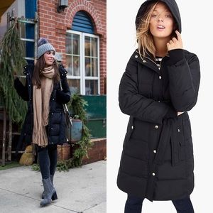 J. Crew Hooded & Belted Long Puffer Coat